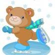 Cute bear on ice skates — Stock Vector