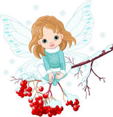 Winter Baby Fairy — Stock Vector