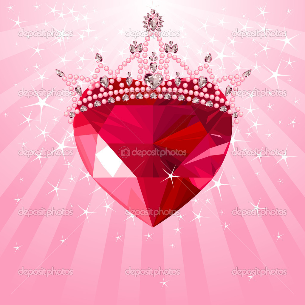 Shiny crystal love heart with princess crown  on radial background — Grafika wektorowa #8334935