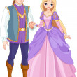 Beautiful prince and princess — Stock Vector