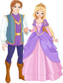 Beautiful prince and princess — Stockvector