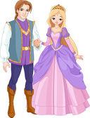 Beautiful prince and princess — Stock Vector