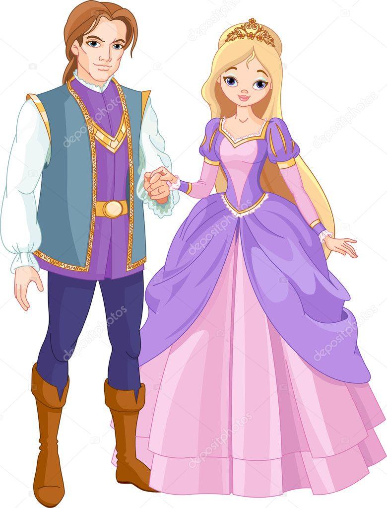 Beautiful prince and princess - Stock Illustration