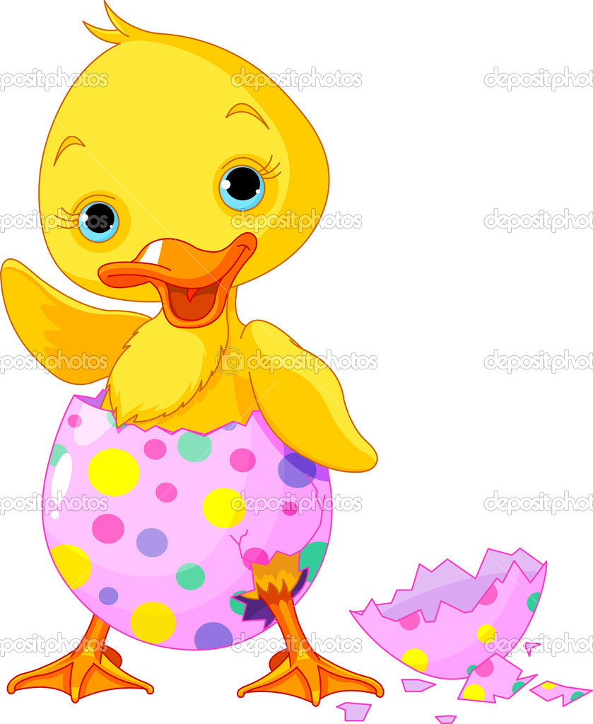 Cute Easter duckling  in the broken Easter Egg.  Stock Vector #8434836