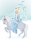 Princess riding horse at winter — Stock Vector