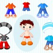 Boy with clothes - Stock Vector