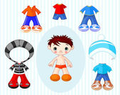 Boy with clothes — Stock Vector
