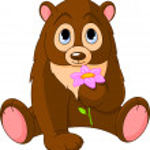 Cute Bear holding flower — Stock Vector