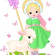 Little shepherdess with  lamb - Stok Vektr