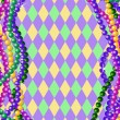 Mardi Gras beads background — Stock Vector
