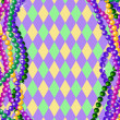 Mardi Gras beads background — Imagen vectorial