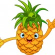 Cheerful Cartoon Pineapple character - Stock Vector