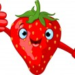Cheerful Cartoon Strawberry character - Stock Vector