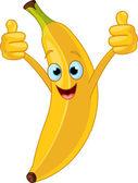 Cheerful Cartoon banana character — Stock Vector