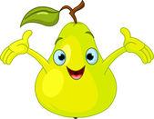 Cheerful Cartoon Pear character — Stock Vector