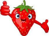Cheerful Cartoon Strawberry character — Stock Vector