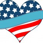 American flag heart — Stock Vector
