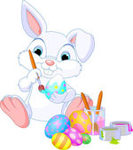 Bunny Painting Easter Egg — Stock Vector