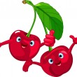 Cheerful Cartoon Cherries character — Stock Vector