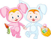Easter Babies-bunnies — Stock Vector