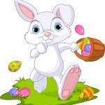 Easter. Bunny Hiding Eggs — Stock Vector