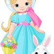 Girl with Easter rabbit — Stockvectorbeeld