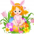 Stock Vector: Cute Easter baby girl