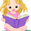 Stock Vector: Reading girl