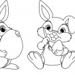 Stock Vector: Easter Bunny coloring page