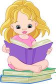 Leitura rapariga — Vetor de Stock