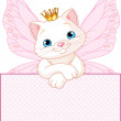 Princess Cat over a blank sign — Stock Vector
