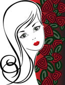 Girl with Roses — Stock Vector
