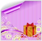 Gold box on purple sticker — Stock Vector