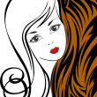 Stock Vector: Girl on a tiger background