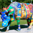 A hand made coloured metallic cow — Stock Photo