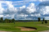 Golf club ashore lake in Riga — Stock Photo