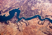 View from above on the river Rhine — Stock Photo
