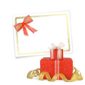 Card for congratulation or invitation with gift boxes decorated — Stock Photo
