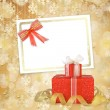 Card for congratulation or invitation with gift boxes decorated — Stock Photo #7989118