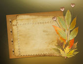 Grunge papers design in scrapbooking style with foliage and hear — Foto Stock