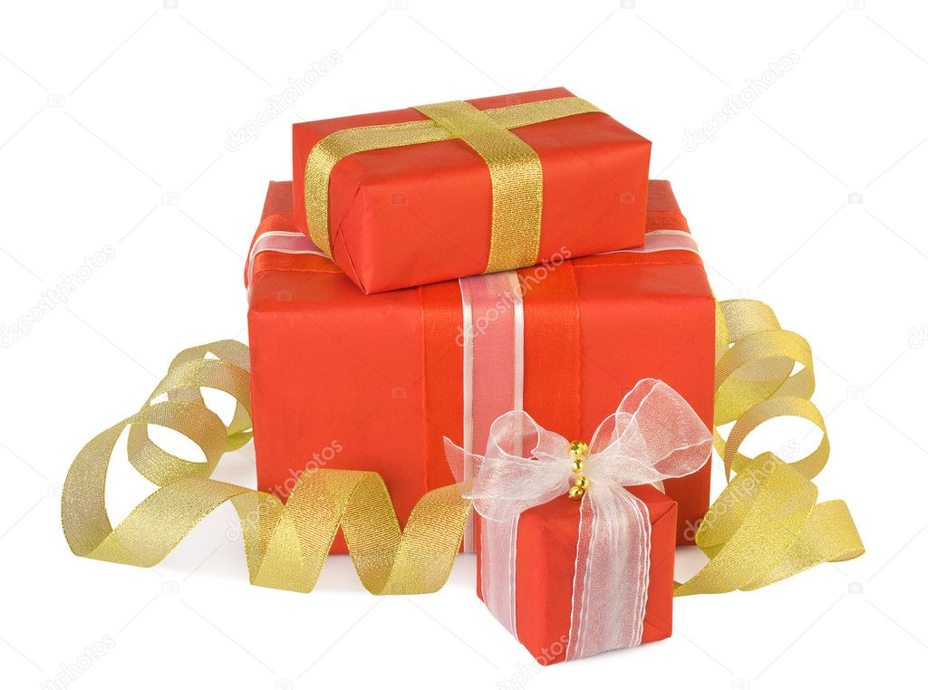 Holiday gift boxes decorated with bows and ribbons isolated on white background — Stock Photo #8016554