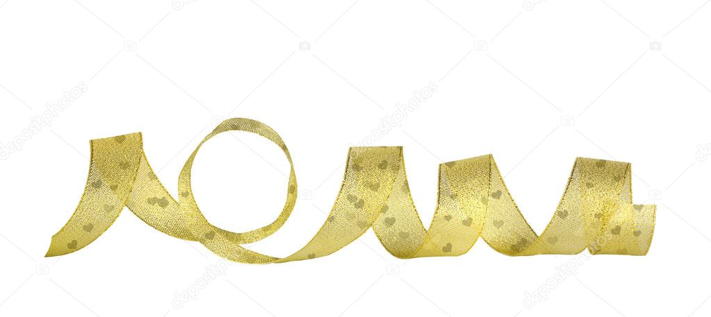 Gold horizontal ribbon on the white isolated background — Foto de Stock   #8016567