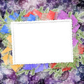 Abstract blur boke background with paper frame and bunch of twig — Stok fotoğraf