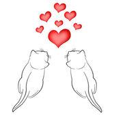 Dois gatos de amor e corações vermelhos em fundo branco — Fotografia Stock