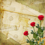 Vintage aged background, old Postcard, envelopes and rose — Stock Photo #8706167
