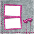 Old frame with hearts for congratulation to holiday — Stock Photo #8706268