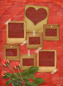 Greeting Card to St. Valentine's Day with hearts and roses — Stok fotoğraf