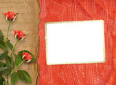 Greeting Card to St. Valentine's Day with hearts and roses — Stock Photo