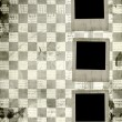 Grunge slides from old papers on the abstract chess  background - Stock Photo