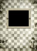Grunge ram från gamla papper på abstrakt schack bakgrunden — Stockfoto